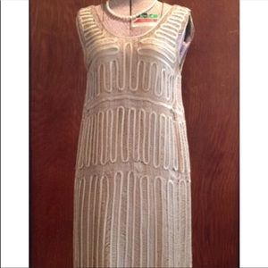 1990's Does 1920's Opulent Nude Silk Crochet Dress